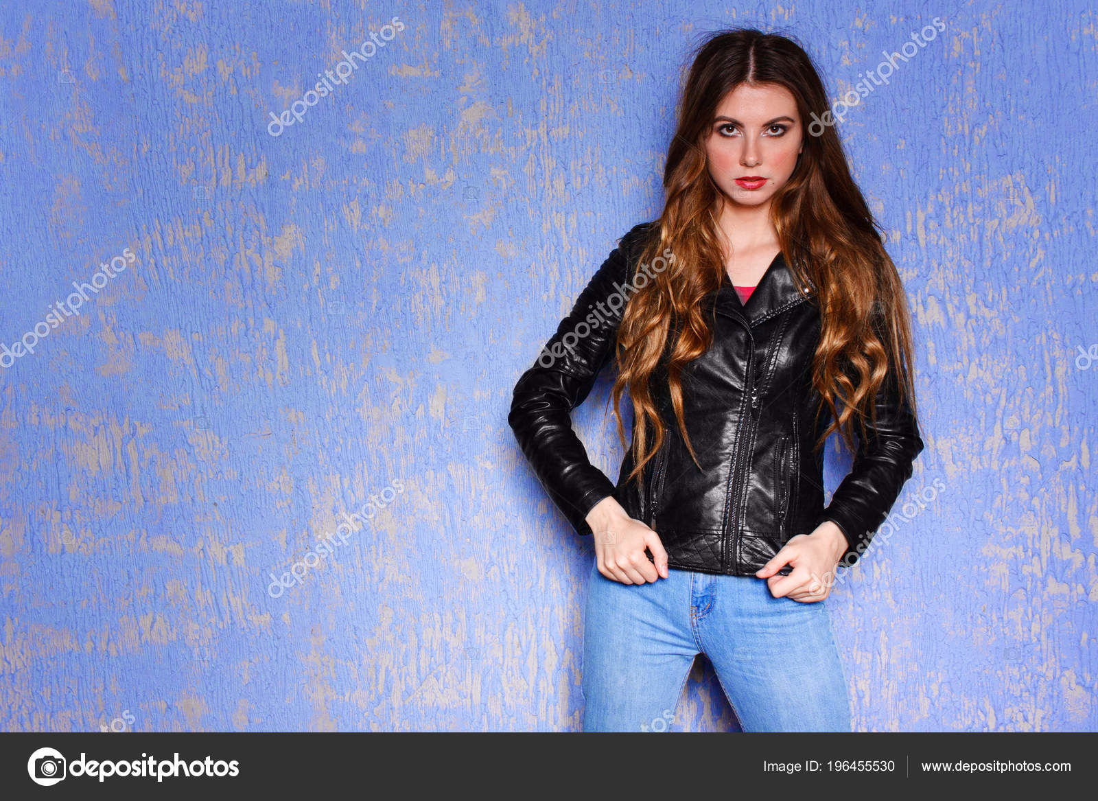 Fashion Model Black Leather Jacket Pixie Cut Hairstyle Punk Rock
