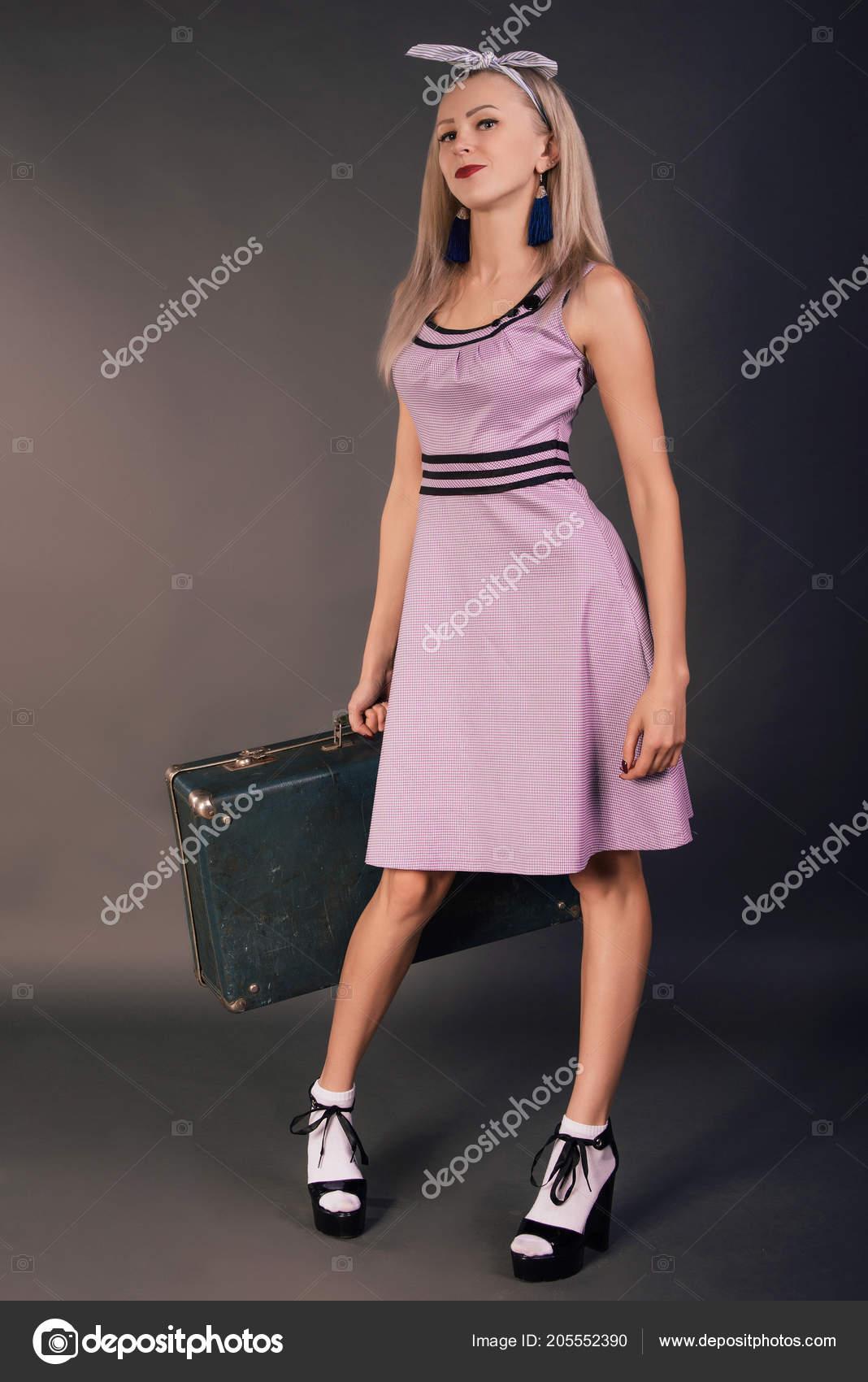 Pin Girl Dress Suitcase Slim Beautiful