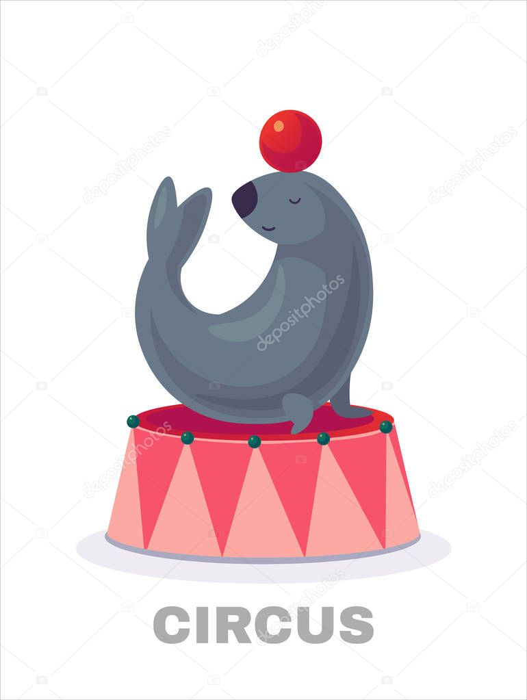 Modern Circus Seal Cartoon Character Illustration isolated on white background