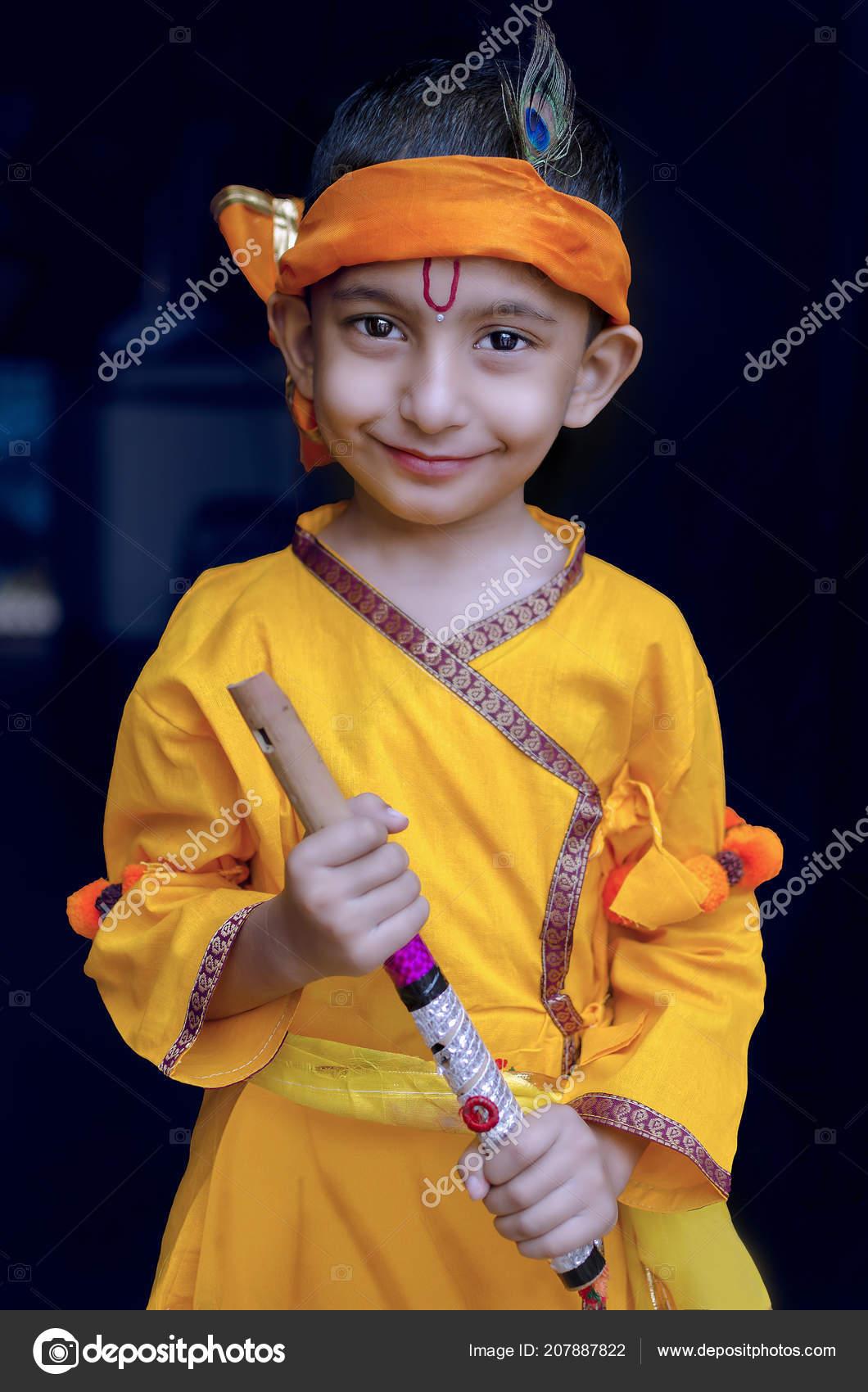 Portrait Little Lord Krishna Kanhaiya Indian Asian Cute Child