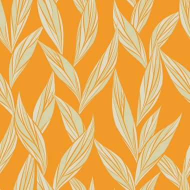 Seamless vector floral pattern with abstract mosaic leaves in beige colors on orange background for fabric, textile, or wallpaper design