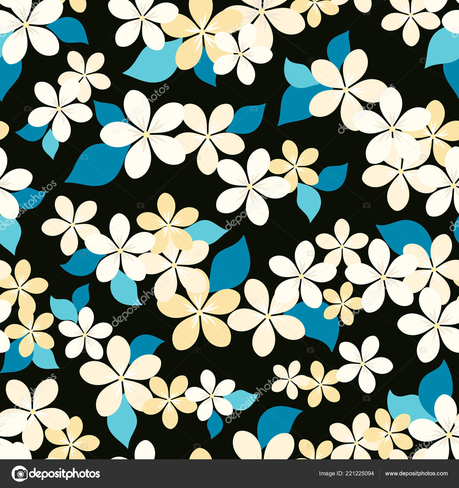 Seamless Vector Floral Pattern Abstract Flowers Pastel Colors