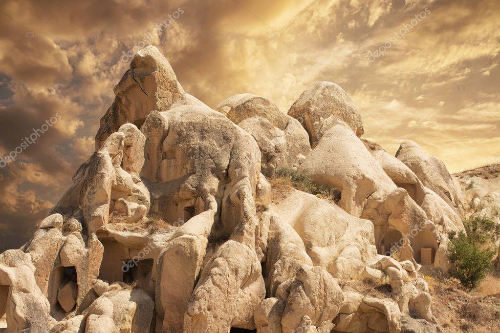 Impressive forms of sandstone in the Cappadocia, Nevsehir Province, Anatolia Region of Turkey.