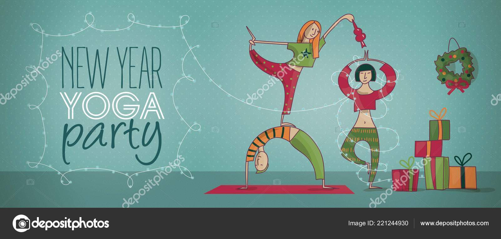 Yoga Banner New Year Yoga Party Banner Vector Illustration Stock Vector C Aly Ko 221244930