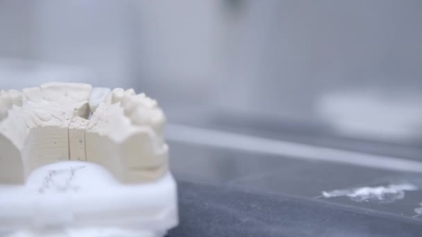 Close up of artificial jaw at the dental clinic. Dentist preparing to make tooth implant