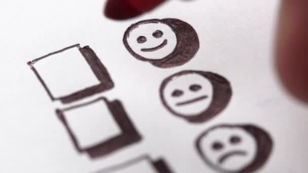 Human hand marking smile face, tick placed on excellent check box. Customer service survey, satisfaction symbol