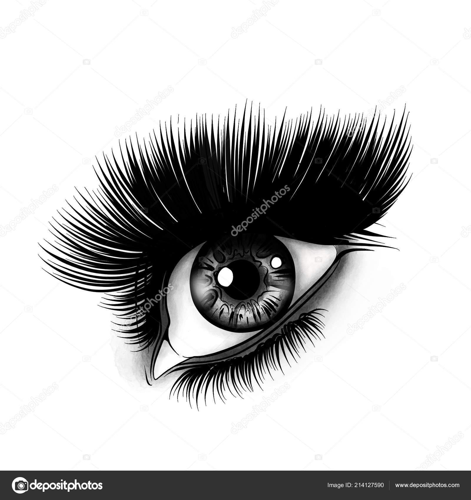 Occhio Donna Bianco Nero Disegnato Digitale ⬇ Stock Photo, Image by ©  deanzangir@gmail.com #214127590