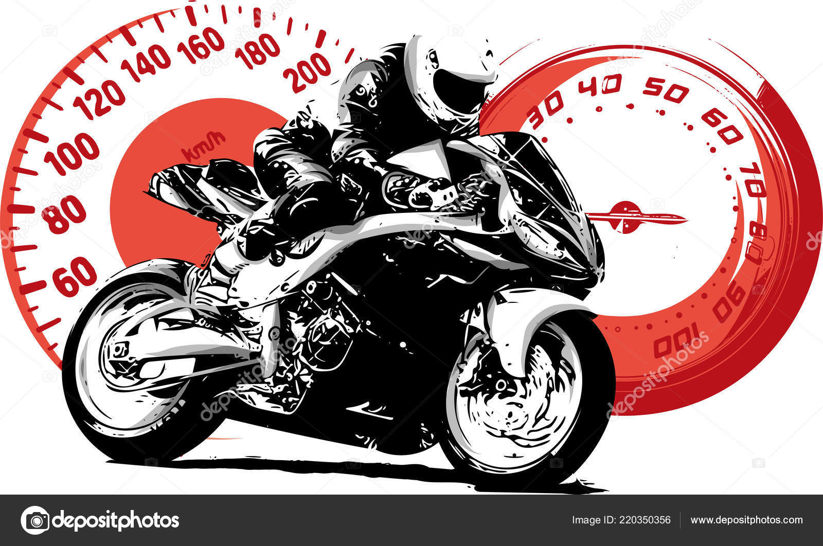 Motorbike Rider Abstract Vector Silhouette Road Motorcycle Racing