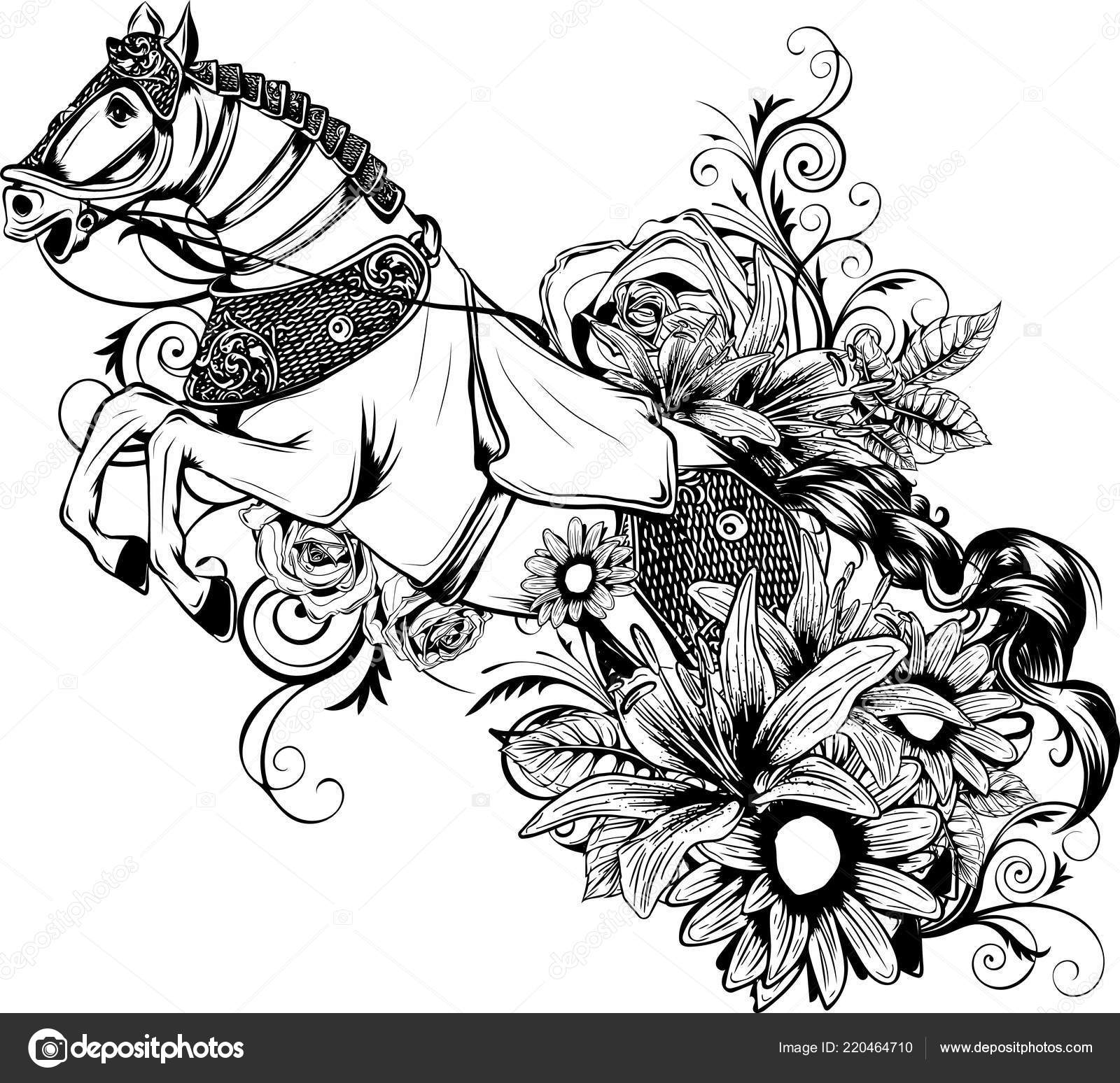 Silhouette Running Horse Illustration Stock Vector C Deanzangir Gmail Com 220464710
