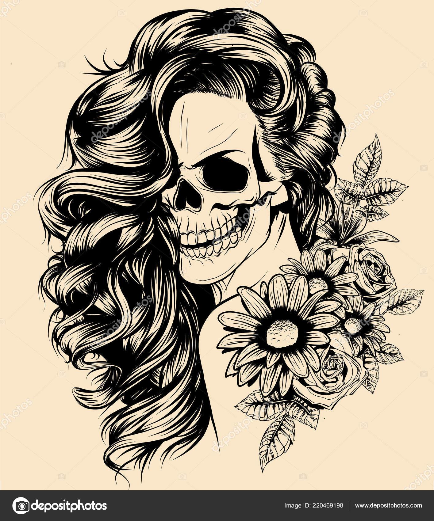 Santa Muerte Drawing Girl Skeleton Make Hand Drawn Vector Sketch