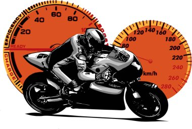 Sport superbike motorcycle with strumenst