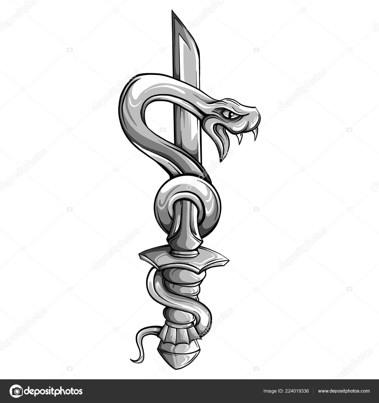 Sztylet Tatuaż Wektor Węża Sztylet Urządzone Dużym Szafiru