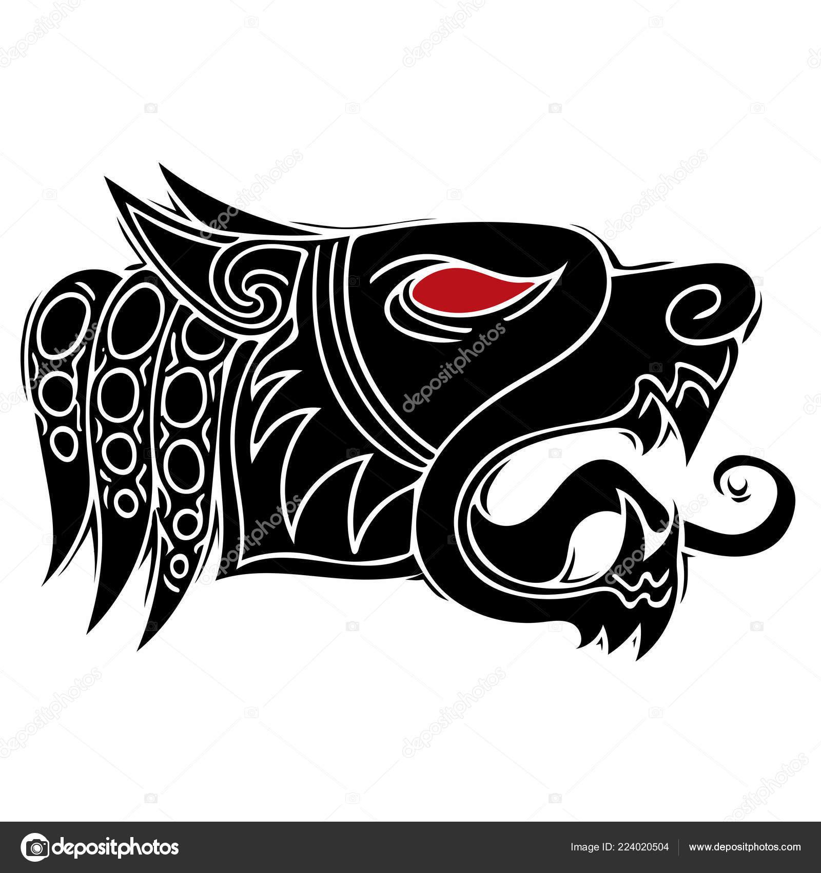 Wolf Head Howl Design Tribal Tattoo Stock Vector Deanzangir
