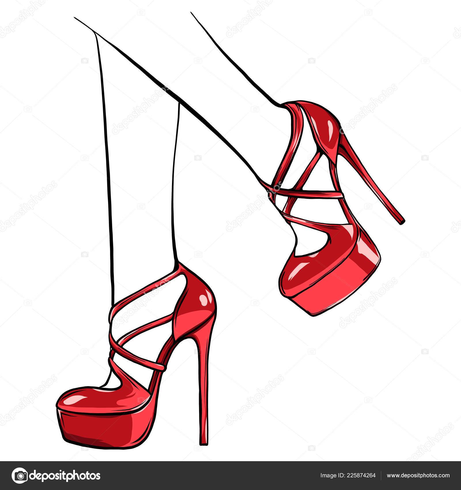 ハイヒールでベクトル少女 ファッション イラスト 靴で女性の足