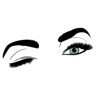Illustration with woman s eye wink, eyebrows and eyelashes. Makeup Look. Tattoo design. Logo for brow bar or lash salon.