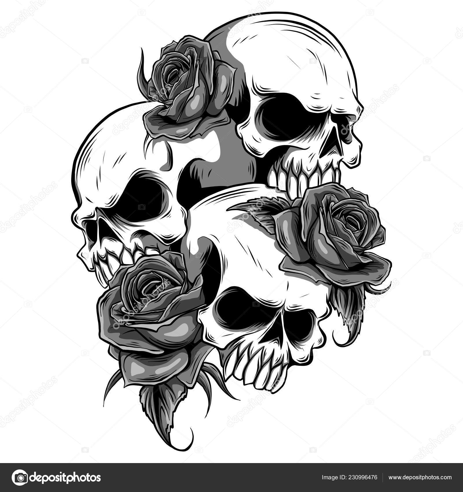 Human Skull Roses Drawn Tattoo Style Stock Vector C Deanzangir