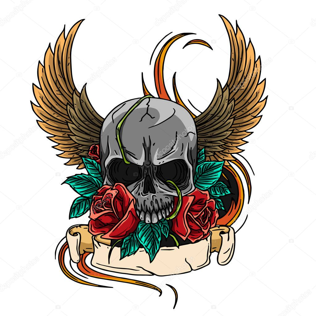 skull symbol tattoo design crown, laurel wreath, wings, roses