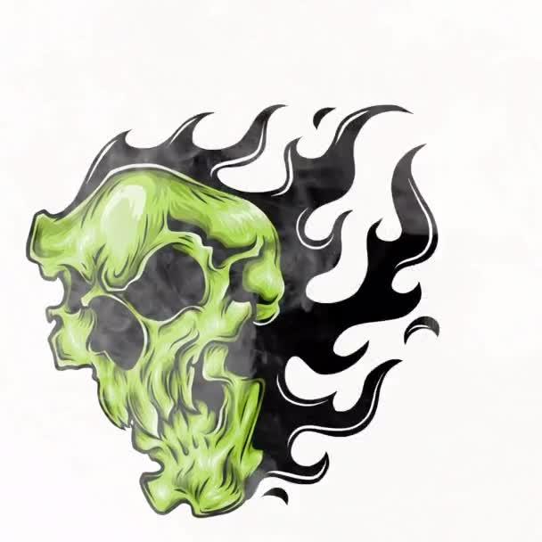 Cranio sul fuoco con le fiamme