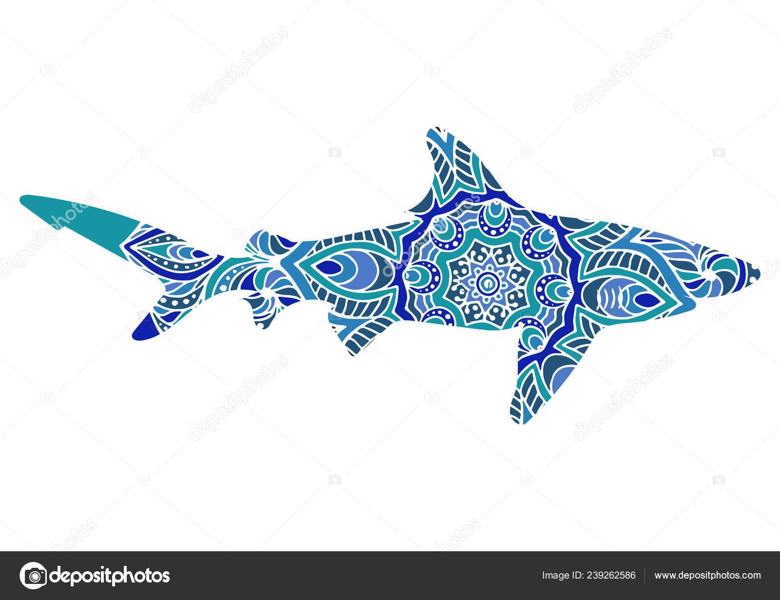 рисованной акула этническими дудл узором окраски страницы