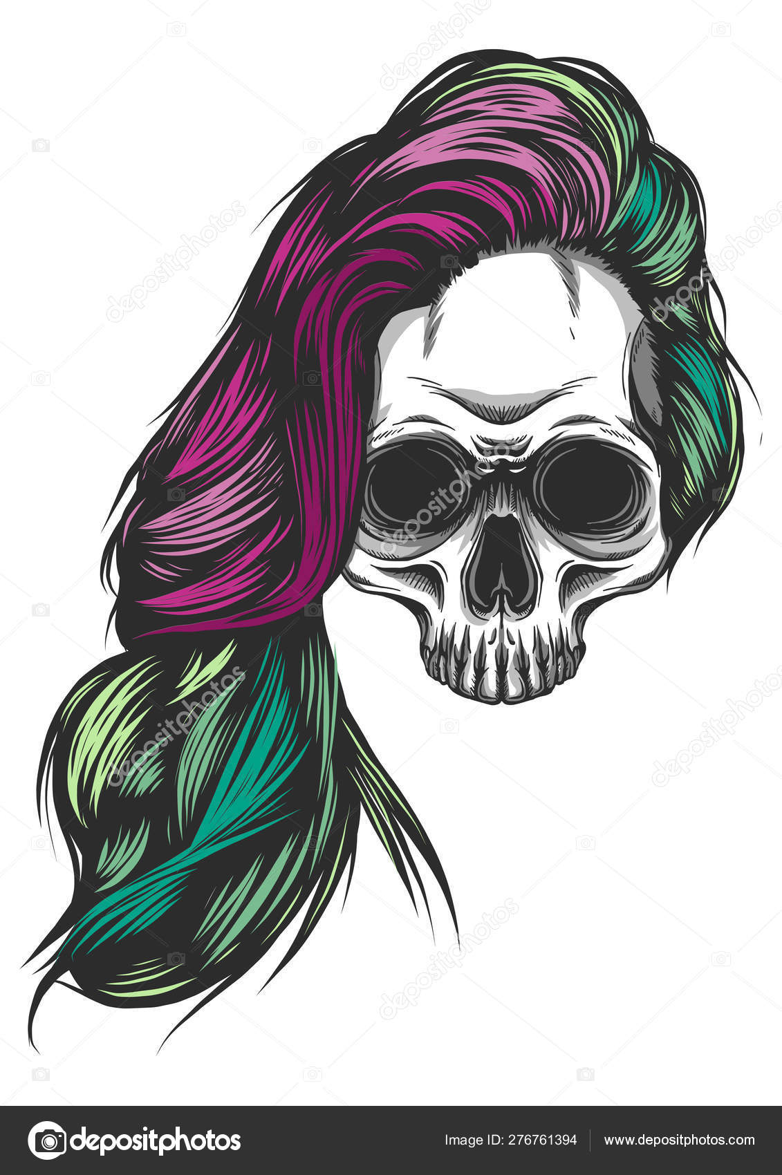Girl With Skeleton Make Up Hand Drawn Vector Sketch Santa Muerte