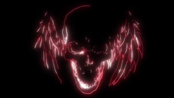 Doppelflügelige menschliche Schädel-Laser-Animation