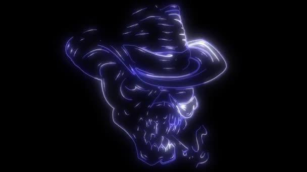 Totenkopf-Cowboy in einem Retro-Holzschnitt-Video mit Radierung oder Gravur