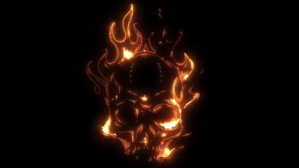 Skull in fire laser animation