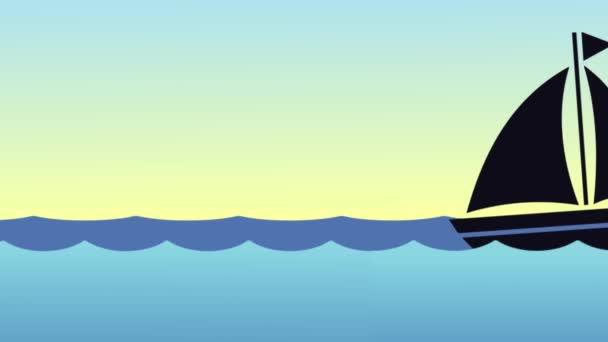 Animazione della silhouette della nave che naviga attraverso il mare al tramonto