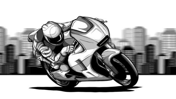 motocyklista jezdí na pozadí velkého města. Animace smyčky s alfa kanálem.