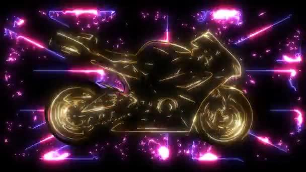 Silueta motocyklových jezdců. Závodní Laserová animace silničních motocyklů