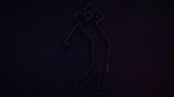 realistischer Neon-Golfspieler für Dekoration und Verkleidung auf dem Wandhintergrund.