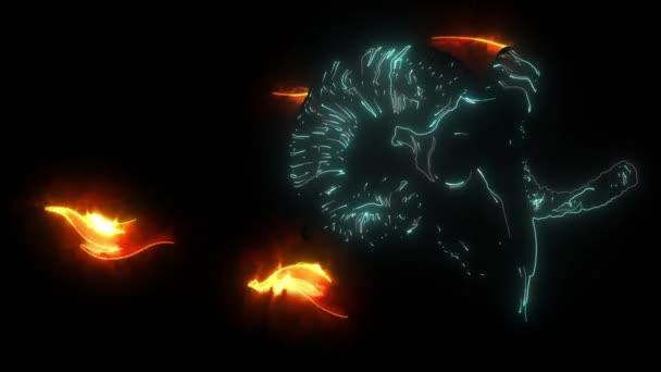 Video mit Ziegenschädel. Digitale Animation