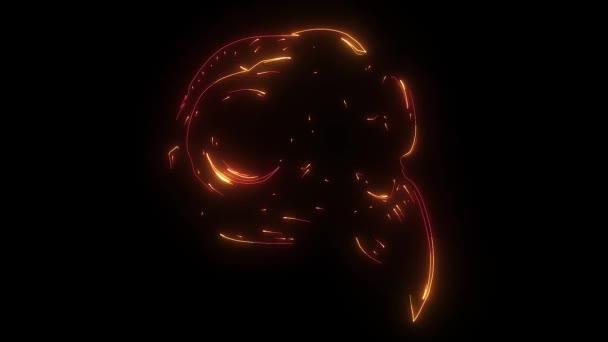 gold eagle skull on black background. illustration