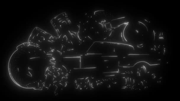 Autó tartalék keret és alkatrészek digitális neon videó