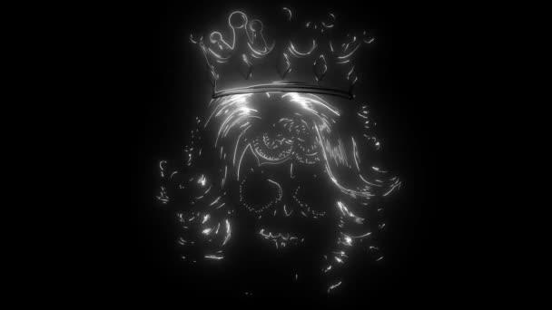 Lebkonoška s korunou. digitální neonové video