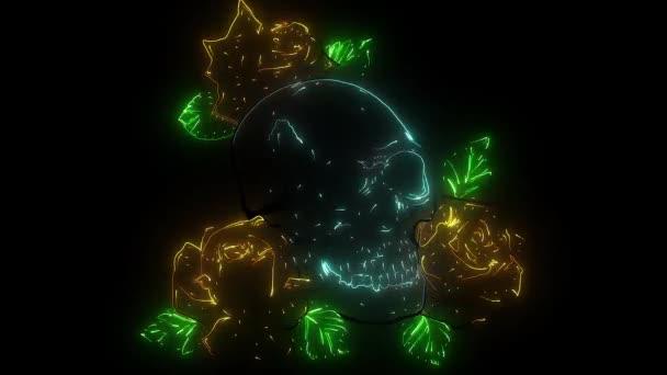 Emberi koponya rózsákkal videóban