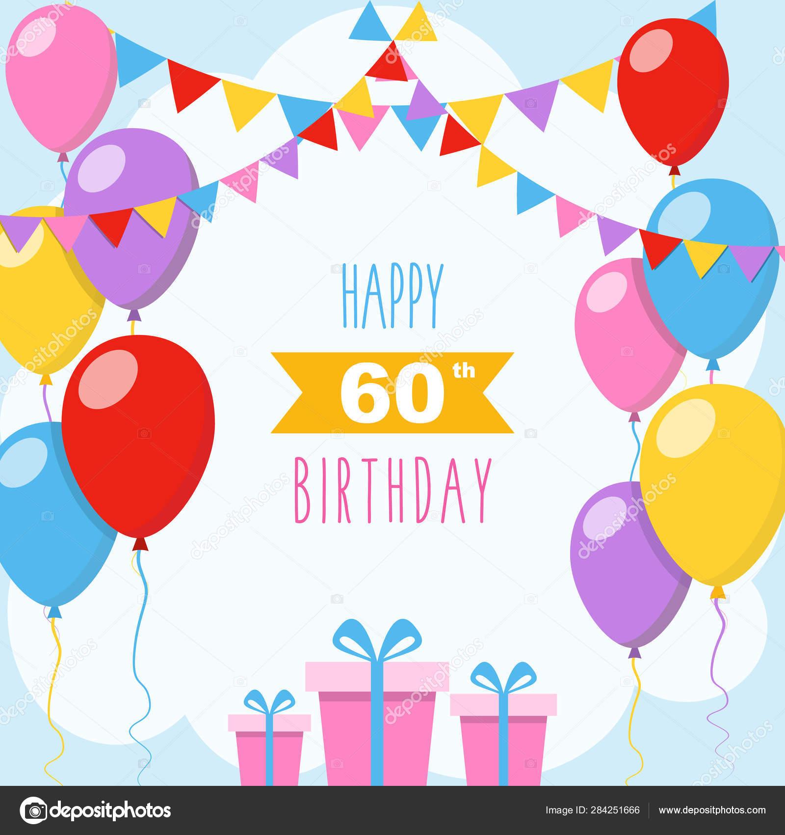 Happy 60Th Birthday Vector Illustration Greeting Card ...