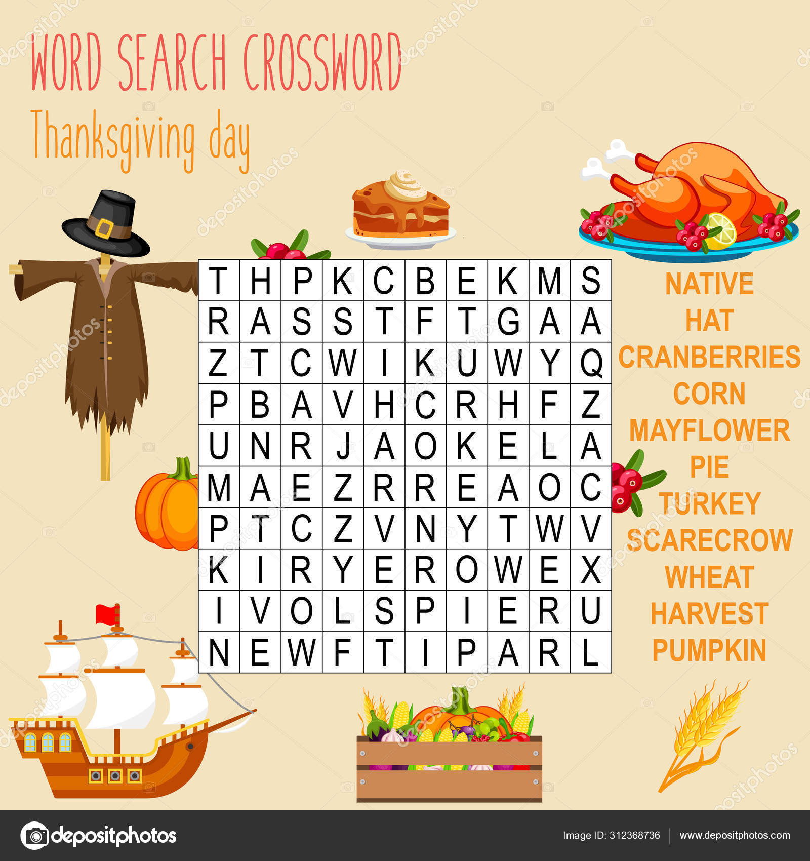 Easy Word Search Crossword Puzzle Thanksgiving Day Children