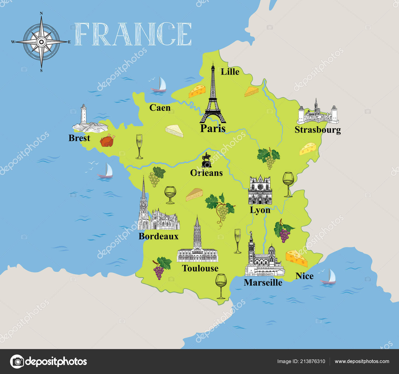 Travel Map Of France.Touristic Map France Travel Background Marked French Gastronomic