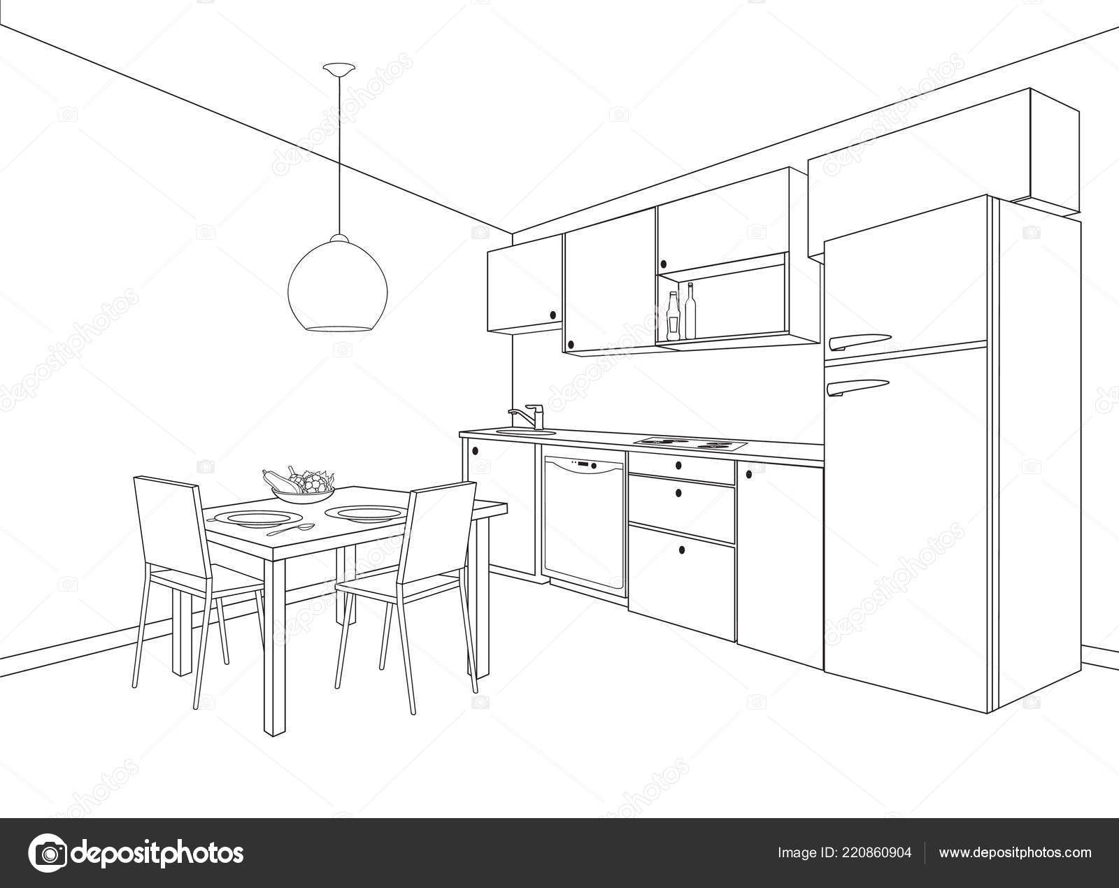 Interior Sketch Kitchen Room Outline Blueprint Design Kitchen Modern  Furniture U2014 Stock Vector