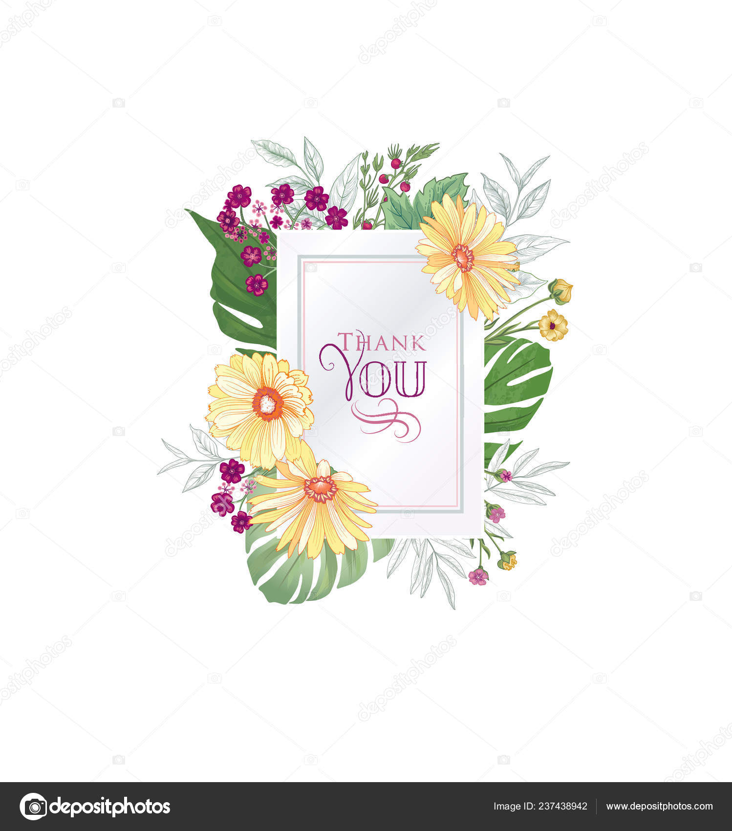 Floral Greeting Card Flower Frame White Background Floral