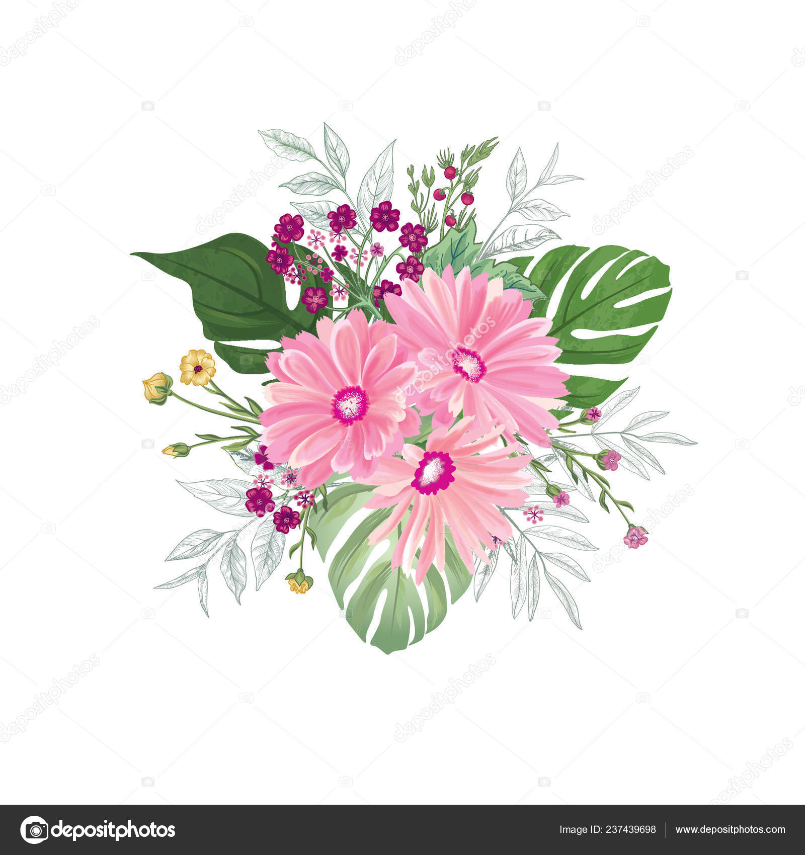 Flower Bouquet White Background Floral Pattern Greeting Card