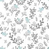 Fotografia Fiori e uccelli blu senza giunte reticolo disegnato a mano. Ottimo per inviti, tessuto, carta da parati, carta da regalo, pagine da colorare Disegno capriccioso. Superficie del battistrada