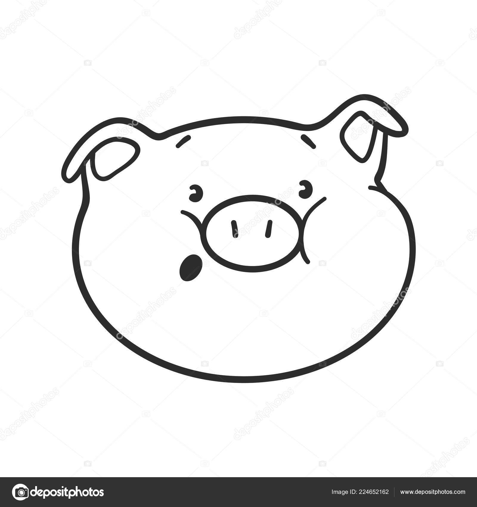 Emoji Cochon Pour Cahier Coloriage Icône émoticône Image