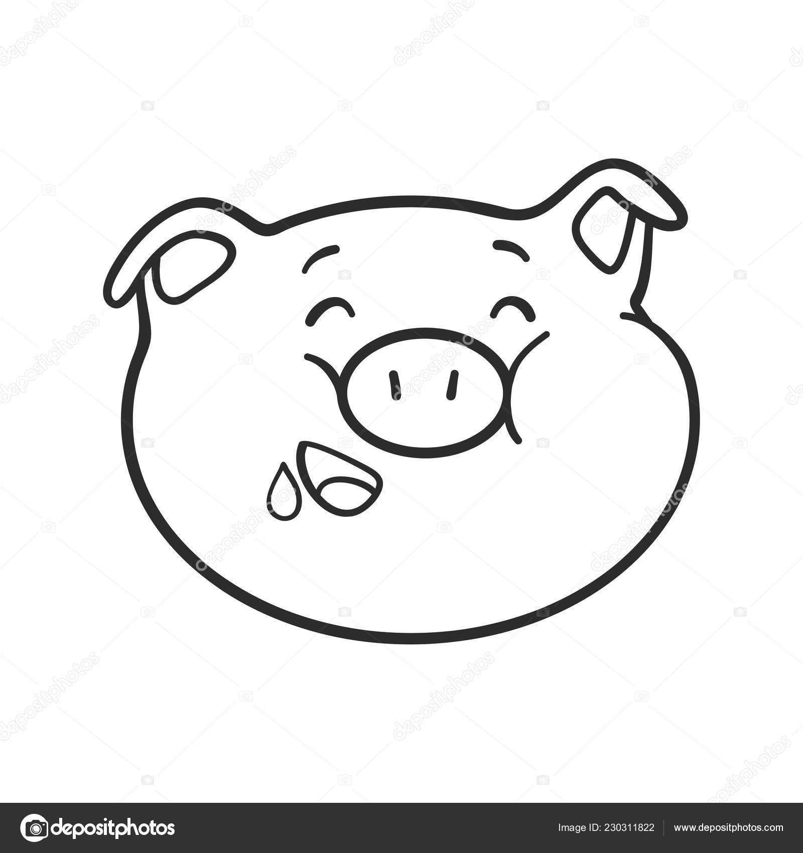 Icono De Hambre Emoticon Cerdo De Emoji Para Colorear Libro