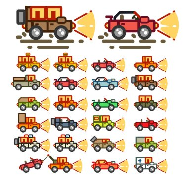 Flat cars at night for game application