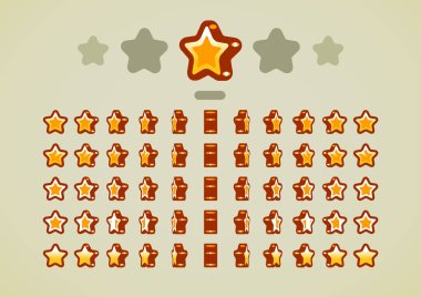 Golden animated stars for video games