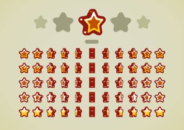 Bronze animated stars for video games