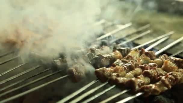 Kuřecí kousky masa je smažené na gril na dřevěné uhlí. Šíš Kebab