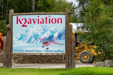 AUGUST 9 2018 - TALKEETNA, ALASKA: K2 Aviation, a flightseeing and glacier landing tourist bush plane service. A fatal plane crash occurred in Denali National Park, killing the pilot and 4 tourists